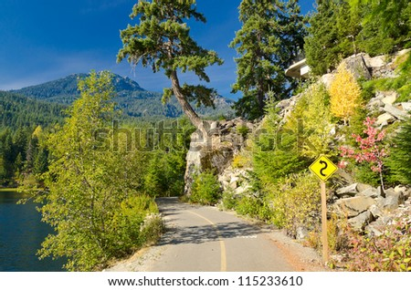 Mountain road in Fall in British Columbia, Canada. Vancouver. Whistler. - stock photo