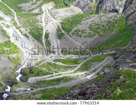 mountain road in Norway - stock photo