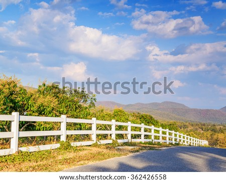 Mountain Road in rural, Chiang Mai, Thailand. - stock photo