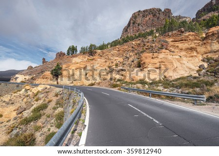Mountain Road in Teide national park, Tenerife, Canary island, Spain.