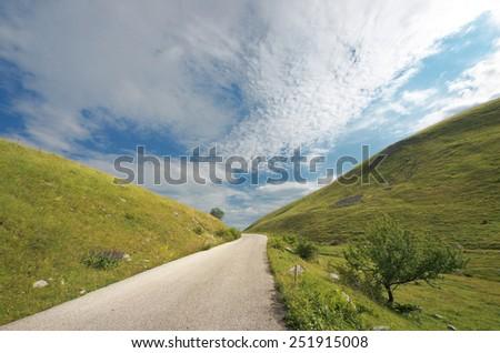mountain road of Durmitor Park, Montenegro  - stock photo