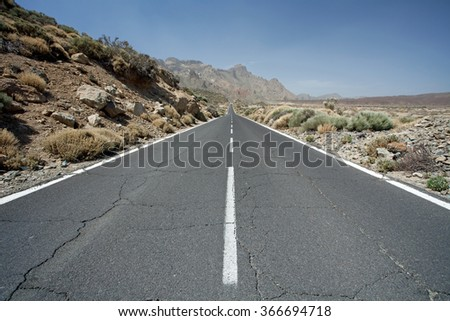 Mountain road on Tenerife, Canary Islands - stock photo
