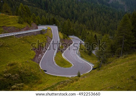 Mountain road - serpentine in the mountains Dolomites, Italy