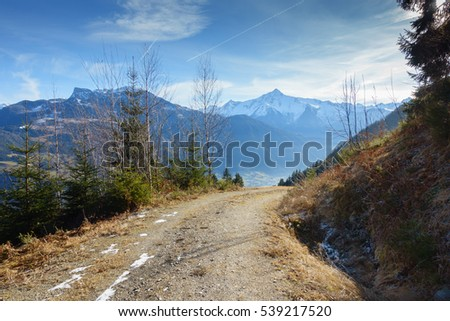 Mountain road through the Alps