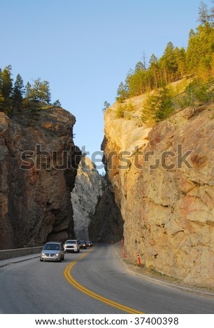Mountain road through the west gate canyon in the kootenay national park, radium hot springs, british columbia, canada - stock photo