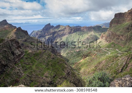 Mountain road to Masca village on Tenerife, Canary Islands, Spain