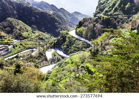 mountain road to Savoca town in Sicily in spring - stock photo
