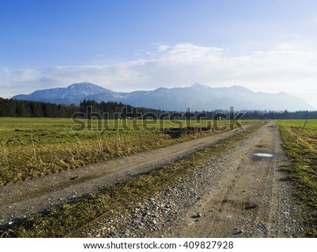 Mountain road, wild nature background