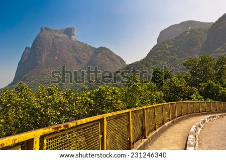 Mountain Road with Pedra da Gavea and Pedra Bonita Rocks in the Horizon in Rio de Janeiro, Brazil