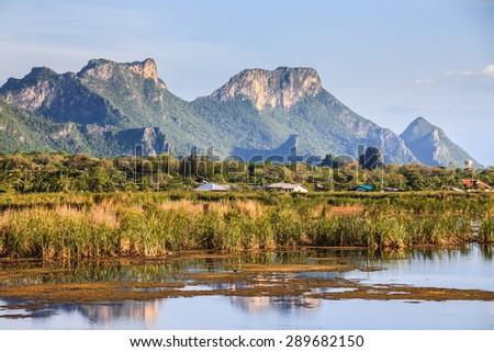 Mountain Rock with the marshes - stock photo