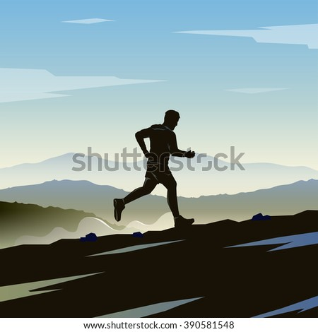 Mountain Running. Runner silhouette. Skyrunning poster. Extreme sports. Mountain landscape.