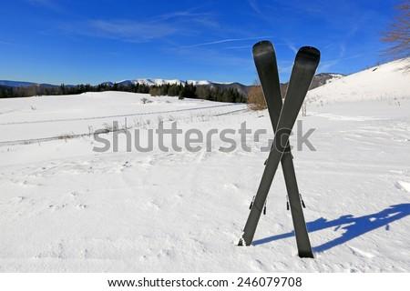 Mountain's ski on mountain background - stock photo