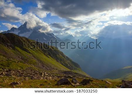 mountain scene - stock photo