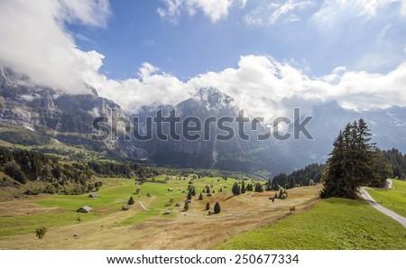 Mountain scene around Grindelwald, Switzerland - stock photo