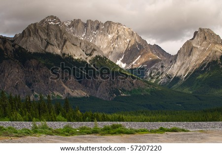 Mountain scene in Kananskis Country Alberta Canada - stock photo