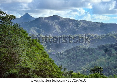 mountain scene in St. Lucia with cloudscape - stock photo
