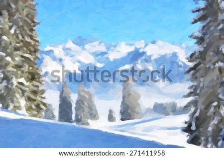 Mountain scenery - stock photo