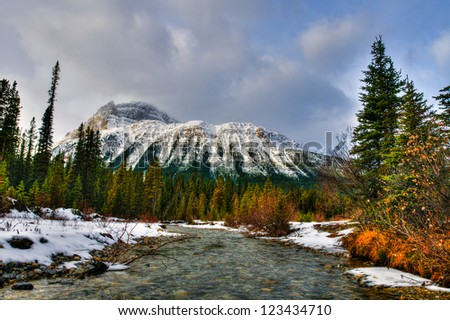 Mountain scenery along the Icefields Parkway, Banff and Jasper National Parks Alberta Canada - stock photo