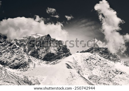 Mountain scenery on the Mount Everest Base Camp trek through the Himalaya, Nepal - stock photo