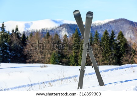 Mountain ski on snow of winter resort against forest background - stock photo