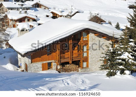 Mountain ski resort with snow in winter, Val-d'Isere, Alps, France - stock photo