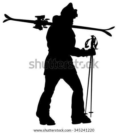 Mountain skier  speeding down slope. sport silhouette.