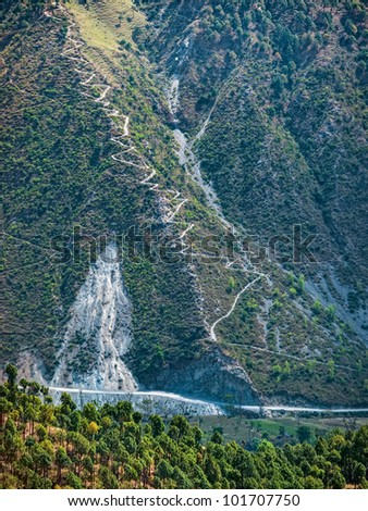 Mountain slopes of remote himalayan region in chamba district himachal pradesh India - stock photo
