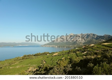 Mountain St. Ilija (962 m) on the coast of the Adriatic Sea in Croatia.