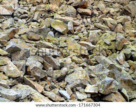 mountain stones overgrown with moss of the Brenta Dolomites in Italy as a background - stock photo