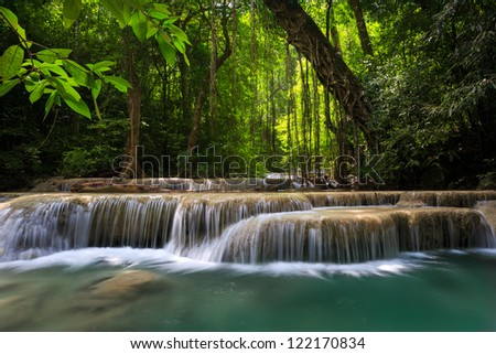 Mountain stream among the mossy stones, Erawan waterfall, Thailand - stock photo