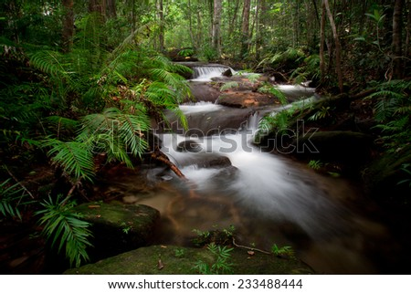 Mountain stream flowing between the stones  - stock photo