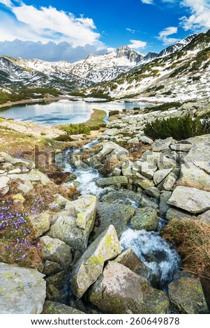 Mountain stream in rocks by a mountain lake surrounded by snowy peaks - stock photo