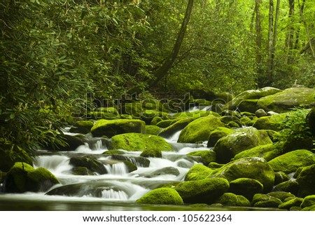 Mountain Stream in the Springtime - stock photo