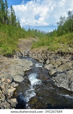 Mountain stream on the Putorana plateau. Summer mountain landscape, fast stream in a stone channel. - stock photo