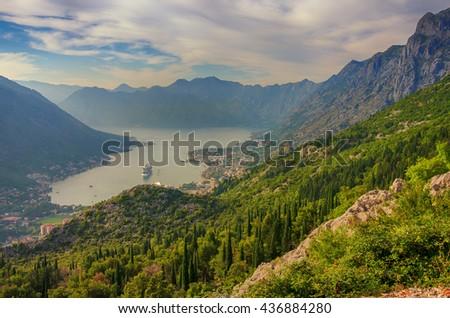 Mountain Sundown in the Kotor Bay, Montenegro. - stock photo