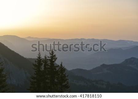 mountain sunrise - stock photo
