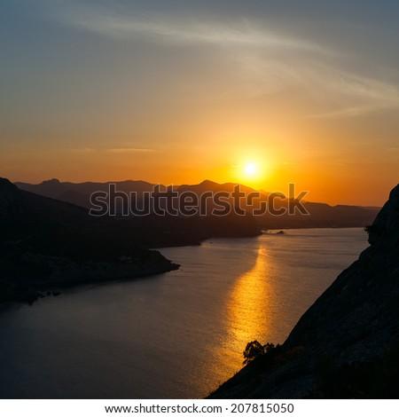 Mountain sunrise. Crimea - stock photo