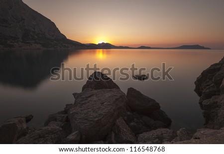 Mountain sunrise. Ukraine. Crimea - stock photo