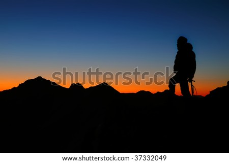 mountain sunset - stock photo