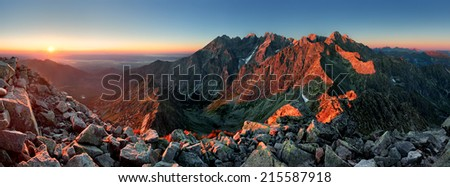 Mountain sunset panorama from peak - Slovakia Tatras - stock photo