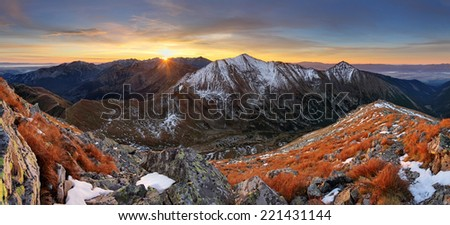 Mountain sunset panorama in West Tatras. - stock photo