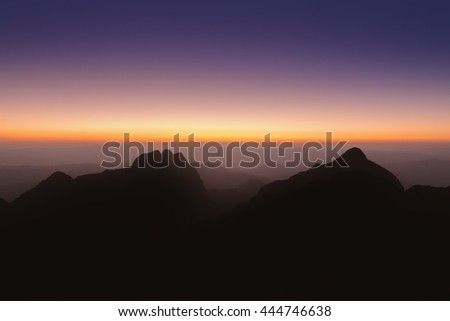 Mountain sunset sky, Doi Luang Chiang Dao, Thailand.