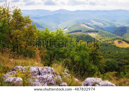 Mountain top in Bukk mountains in Hungary