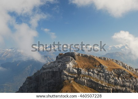 Mountain top in cloud frame