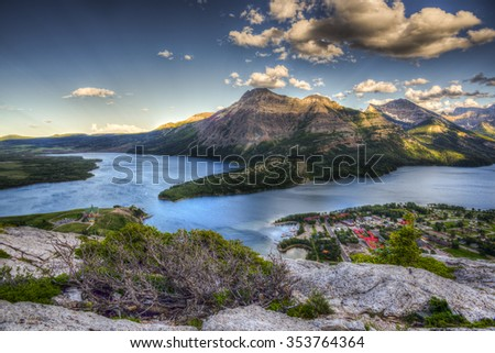 Mountain top views overlooking Waterton Lakes and Townsite,  Waterton National Park Canada - stock photo
