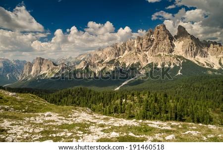 Mountain Tops in Summer, Cristallo Group from Faloria (Monte Cristallo, Cima di Mezzo, Piz Popena ), Dolomites, Alps, Italy - stock photo