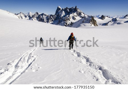Mountain touring skiing, Vallee Blanche, Mont Blanc Massif,France