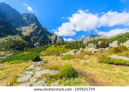 Mountain trail from Morskie Oko lake to Czarny Staw lake, High Tatry Mountains, Poland - stock photo