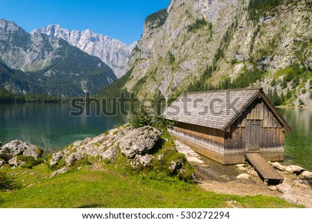 Mountain trail, Water reflections Obersee Lake, Bavaria, Germany, Europe