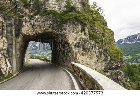 Mountain tunnel at the entrance to Cortina D'Ampezzo